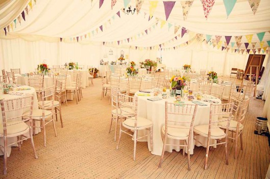bunting wedding trends colorful tent