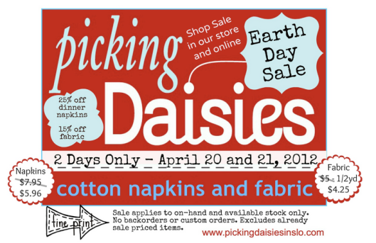 earth day reusable napkin sale 2012